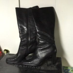 Rampage healed leather black boots